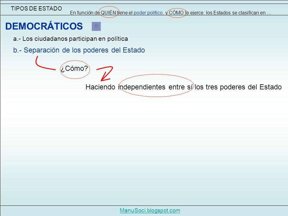 TIPOS DE ESTADO En función de QUIÉN tiene el poder político, y CÓMO lo ejerce, los Estados se clasifican en … ManuSoci.blogspot.com DEMOCRÁTICOS a.- Los ciudadanos participan en política ¿Cómo.