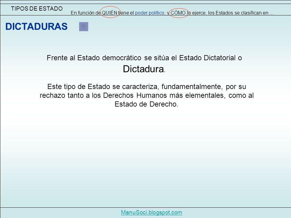 TIPOS DE ESTADO ManuSoci.blogspot.com En función de QUIÉN tiene el poder político, y CÓMO lo ejerce, los Estados se clasifican en … Frente al Estado democrático se sitúa el Estado Dictatorial o Dictadura.
