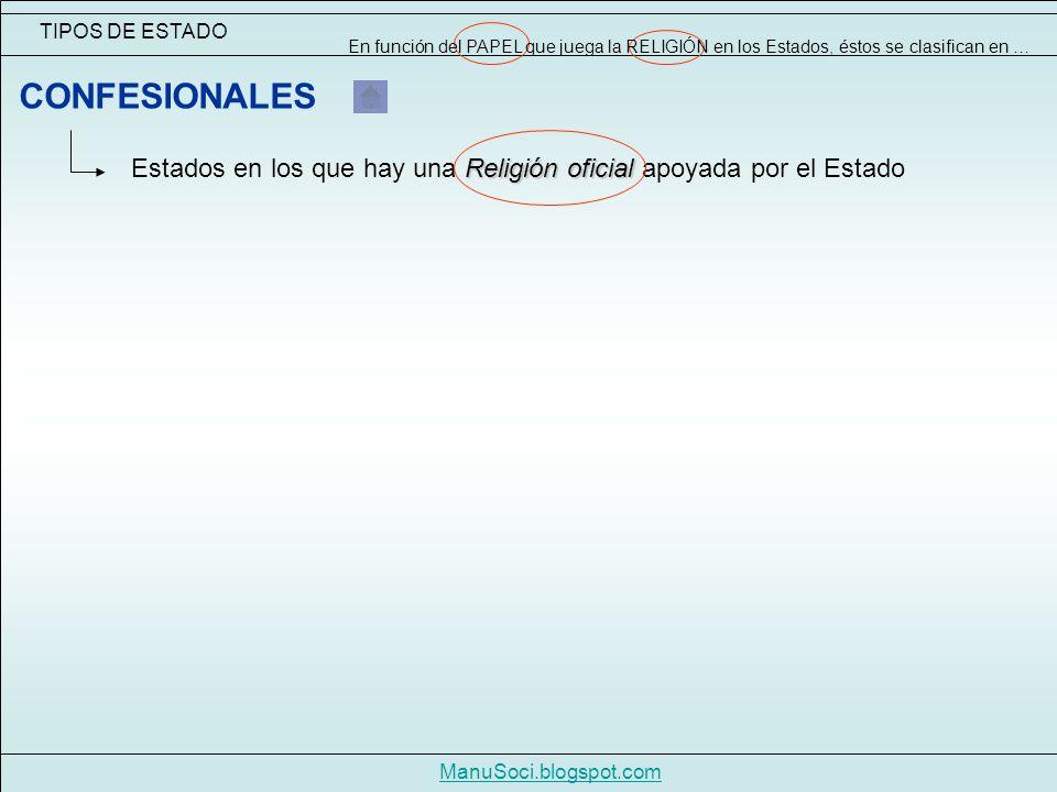 TIPOS DE ESTADO ManuSoci.blogspot.com Religión oficial Estados en los que hay una Religión oficial apoyada por el Estado CONFESIONALES En función del PAPEL que juega la RELIGIÓN en los Estados, éstos se clasifican en …