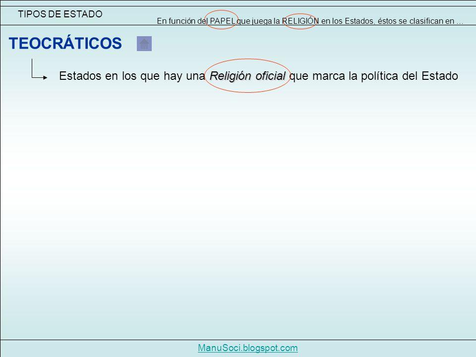 TIPOS DE ESTADO ManuSoci.blogspot.com Religión oficial Estados en los que hay una Religión oficial que marca la política del Estado TEOCRÁTICOS En función del PAPEL que juega la RELIGIÓN en los Estados, éstos se clasifican en …