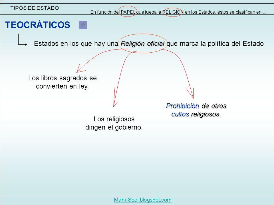 TIPOS DE ESTADO ManuSoci.blogspot.com Religión oficial Estados en los que hay una Religión oficial que marca la política del Estado TEOCRÁTICOS Los libros sagrados se convierten en ley.