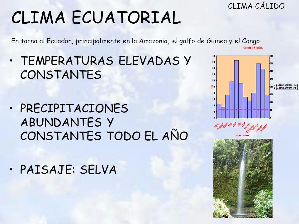 CLIMA ECUATORIAL En torno al Ecuador, principalmente en la Amazonia, el golfo de Guinea y el Congo TEMPERATURAS ELEVADAS Y CONSTANTES PRECIPITACIONES ABUNDANTES Y CONSTANTES TODO EL AÑO PAISAJE: SELVA CLIMA CÁLIDO