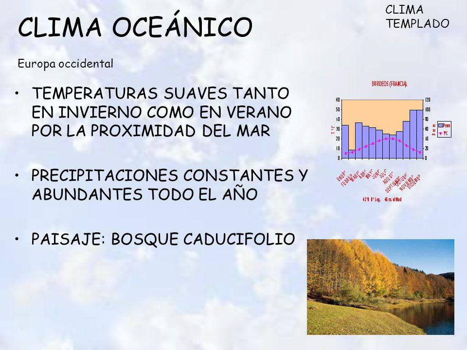 CLIMA OCEÁNICO Europa occidental TEMPERATURAS SUAVES TANTO EN INVIERNO COMO EN VERANO POR LA PROXIMIDAD DEL MAR PRECIPITACIONES CONSTANTES Y ABUNDANTES TODO EL AÑO PAISAJE: BOSQUE CADUCIFOLIO CLIMA TEMPLADO