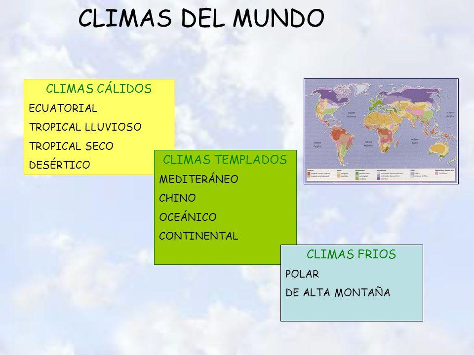 CLIMAS DEL MUNDO CLIMAS CÁLIDOS ECUATORIAL TROPICAL LLUVIOSO TROPICAL SECO DESÉRTICO CLIMAS TEMPLADOS MEDITERÁNEO CHINO OCEÁNICO CONTINENTAL CLIMAS FRIOS POLAR DE ALTA MONTAÑA