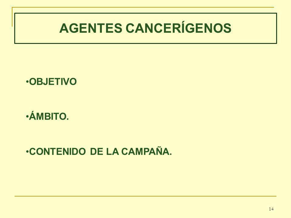 AGENTES CANCERÍGENOS OBJETIVO ÁMBITO. CONTENIDO DE LA CAMPAÑA. 14