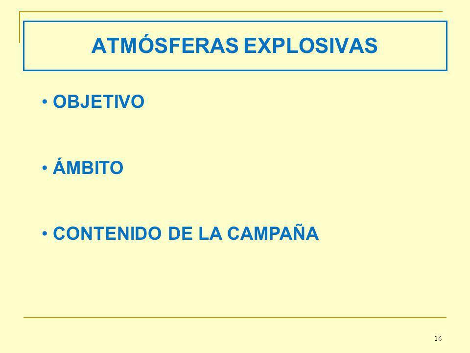 ATMÓSFERAS EXPLOSIVAS OBJETIVO ÁMBITO CONTENIDO DE LA CAMPAÑA 16