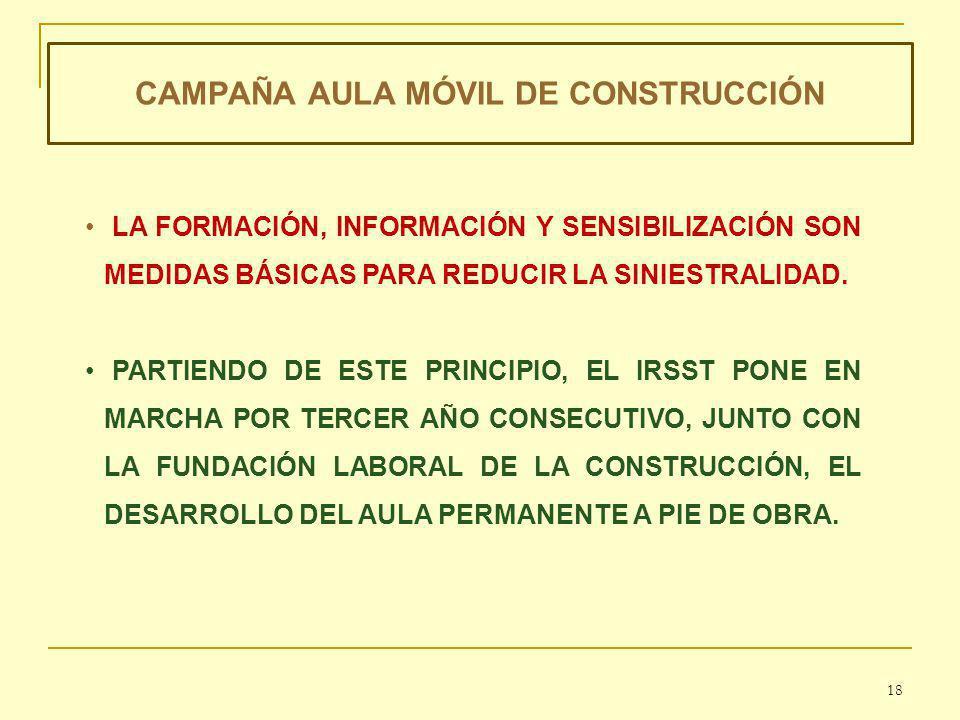 CAMPAÑA AULA MÓVIL DE CONSTRUCCIÓN LA FORMACIÓN, INFORMACIÓN Y SENSIBILIZACIÓN SON MEDIDAS BÁSICAS PARA REDUCIR LA SINIESTRALIDAD.