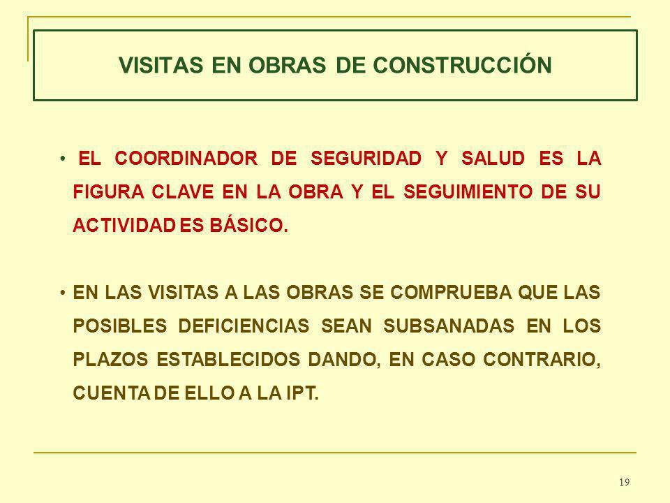 VISITAS EN OBRAS DE CONSTRUCCIÓN EL COORDINADOR DE SEGURIDAD Y SALUD ES LA FIGURA CLAVE EN LA OBRA Y EL SEGUIMIENTO DE SU ACTIVIDAD ES BÁSICO.