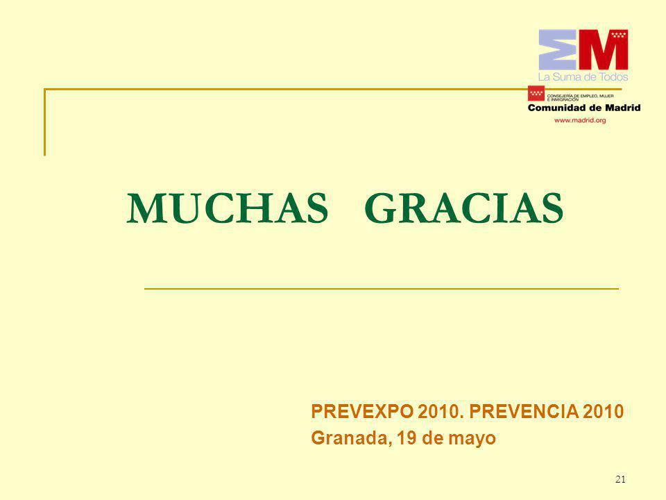 PREVEXPO 2010. PREVENCIA 2010 Granada, 19 de mayo MUCHAS GRACIAS 21