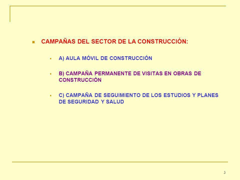 CAMPAÑAS DEL SECTOR DE LA CONSTRUCCIÓN: A) AULA MÓVIL DE CONSTRUCCIÓN B) CAMPAÑA PERMANENTE DE VISITAS EN OBRAS DE CONSTRUCCIÓN C) CAMPAÑA DE SEGUIMIENTO DE LOS ESTUDIOS Y PLANES DE SEGURIDAD Y SALUD 3