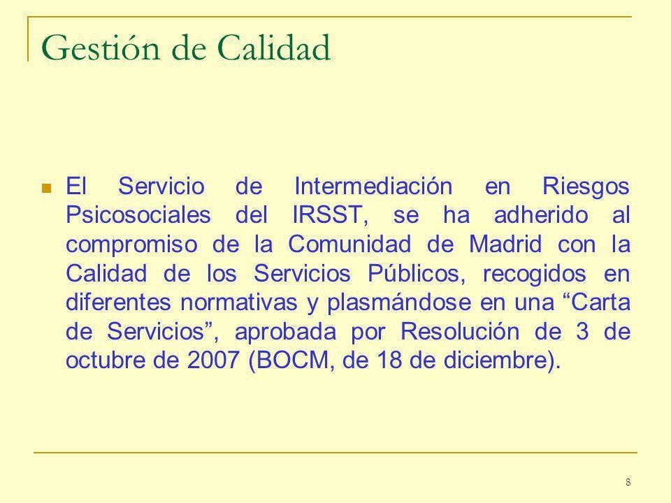 Gestión de Calidad El Servicio de Intermediación en Riesgos Psicosociales del IRSST, se ha adherido al compromiso de la Comunidad de Madrid con la Calidad de los Servicios Públicos, recogidos en diferentes normativas y plasmándose en una Carta de Servicios, aprobada por Resolución de 3 de octubre de 2007 (BOCM, de 18 de diciembre).