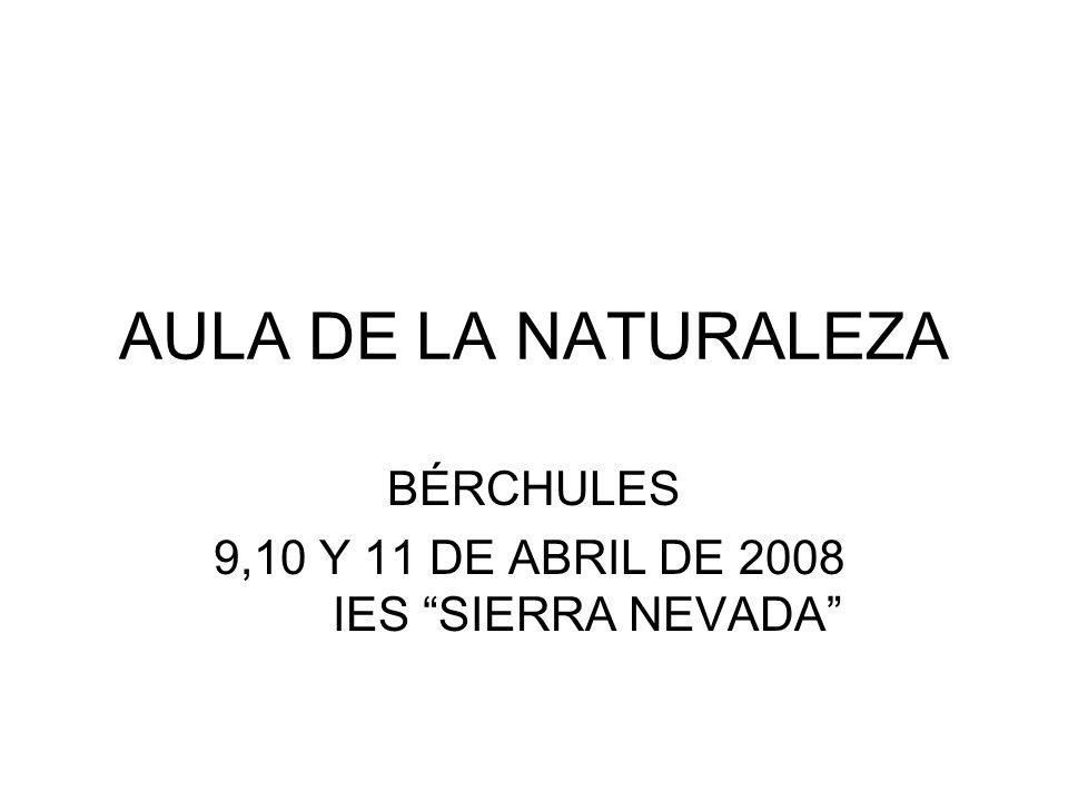 AULA DE LA NATURALEZA BÉRCHULES 9,10 Y 11 DE ABRIL DE 2008 IES SIERRA NEVADA