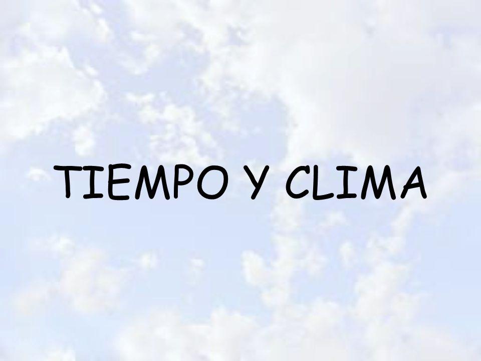 Estado de la atmósfera –En un momento dado –En un lugar determinado Estado de la atmósfera -En las diferentes zonas de la Tierra (mínimo 30 años) TIEMPO CLIMA CLIMATOLOGÍA METEREOLOGÍA