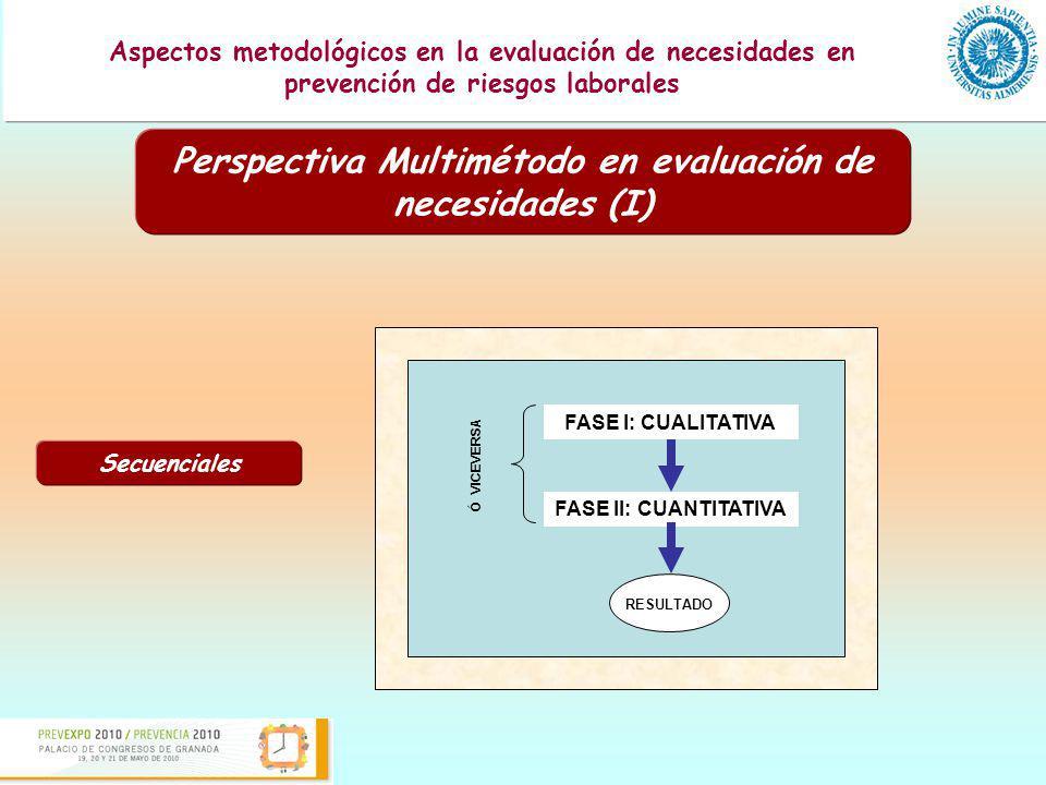 Presentación de una guía para la evaluación de los programas formativos en prevención de riesgos laborales Aspectos metodológicos en la evaluación de necesidades en prevención de riesgos laborales Perspectiva Multimétodo en evaluación de necesidades (II) Paralelos CUALITATIVO CUANTITATIVO RESULTADO