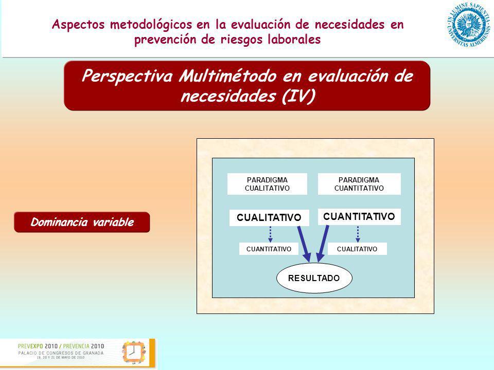 Presentación de una guía para la evaluación de los programas formativos en prevención de riesgos laborales Aspectos metodológicos en la evaluación de necesidades en prevención de riesgos laborales A modo de conclusión (I) Necesidad de combinar metodología cuantitativa y cualitativa para la evaluación de necesidades en materia de PRL.