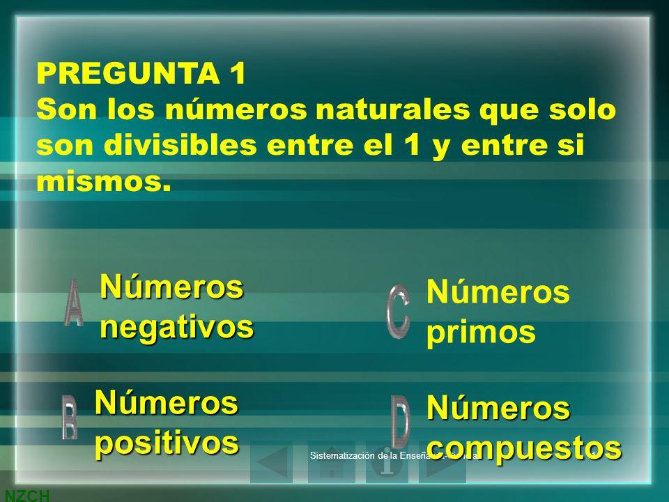 NZCH Sistematización de la Enseñanza-Ciencias11 PREGUNTA 1 Son los números naturales que solo son divisibles entre el 1 y entre si mismos. Números neg
