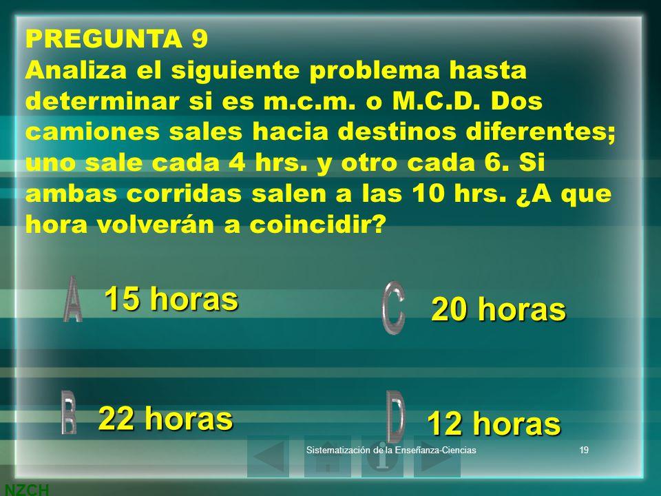 NZCH Sistematización de la Enseñanza-Ciencias19 PREGUNTA 9 Analiza el siguiente problema hasta determinar si es m.c.m. o M.C.D. Dos camiones sales hac