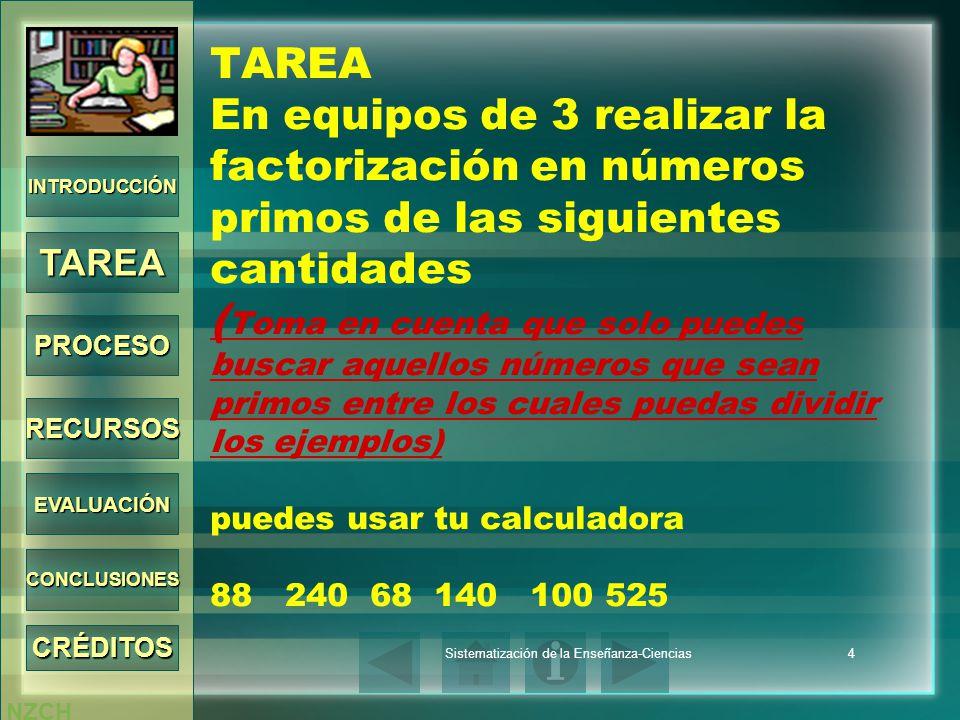 NZCH Sistematización de la Enseñanza-Ciencias4 TAREA En equipos de 3 realizar la factorización en números primos de las siguientes cantidades ( Toma e