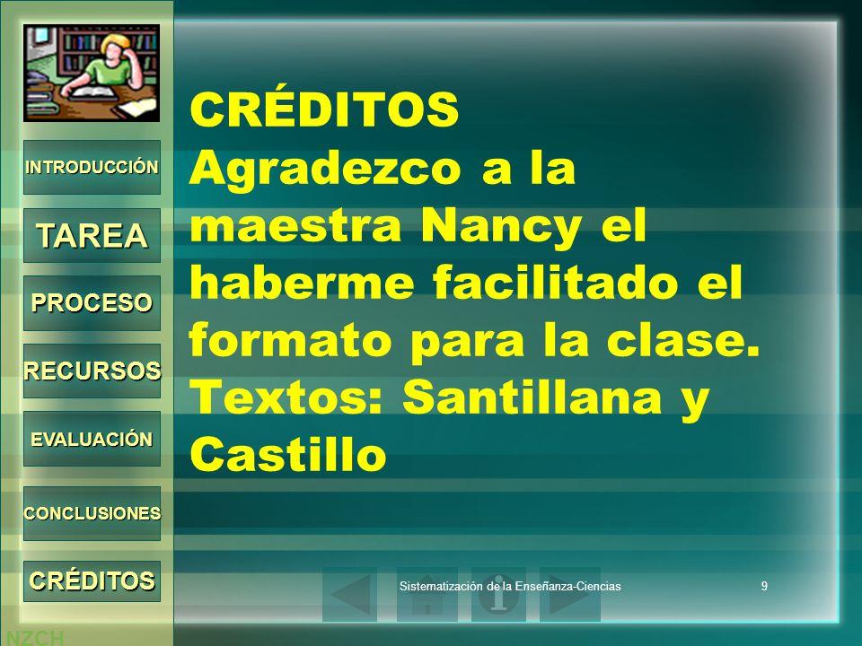 NZCH Sistematización de la Enseñanza-Ciencias9 CRÉDITOS Agradezco a la maestra Nancy el haberme facilitado el formato para la clase. Textos: Santillan