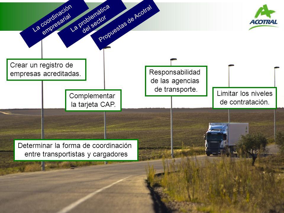 La coordinación empresarial La problemática del sector Propuestas de Acotral Crear un registro de empresas acreditadas. Complementar la tarjeta CAP. R
