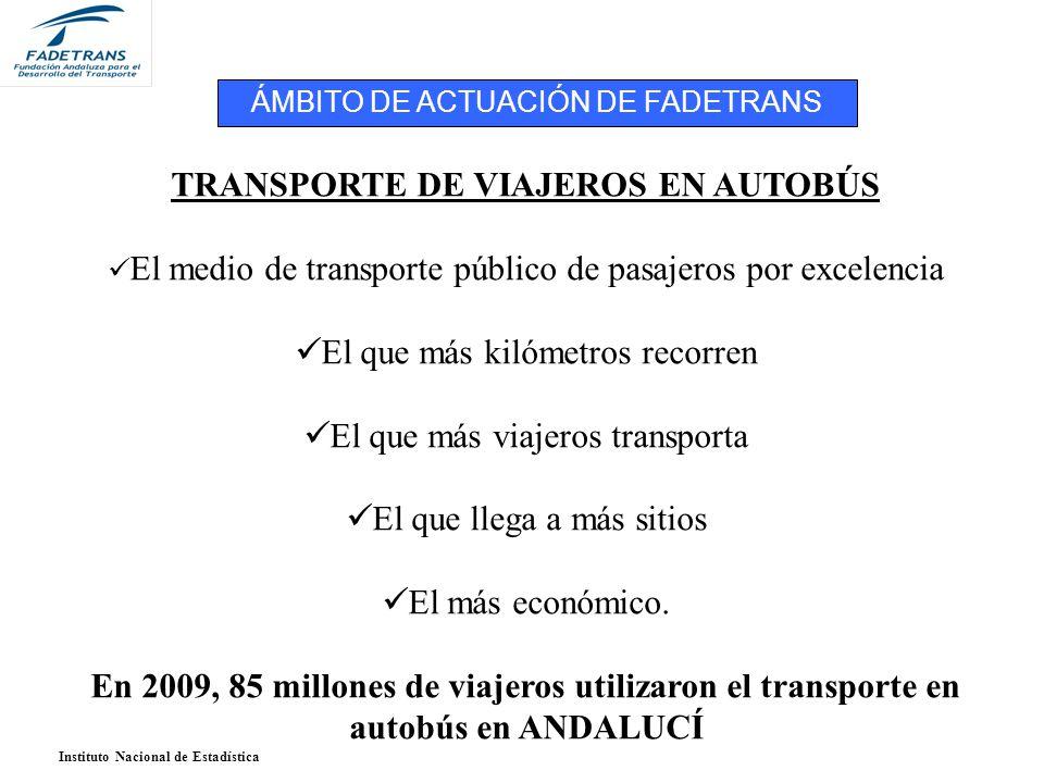 TRANSPORTE DE VIAJEROS EN AUTOBÚS El medio de transporte público de pasajeros por excelencia El que más kilómetros recorren El que más viajeros transporta El que llega a más sitios El más económico.
