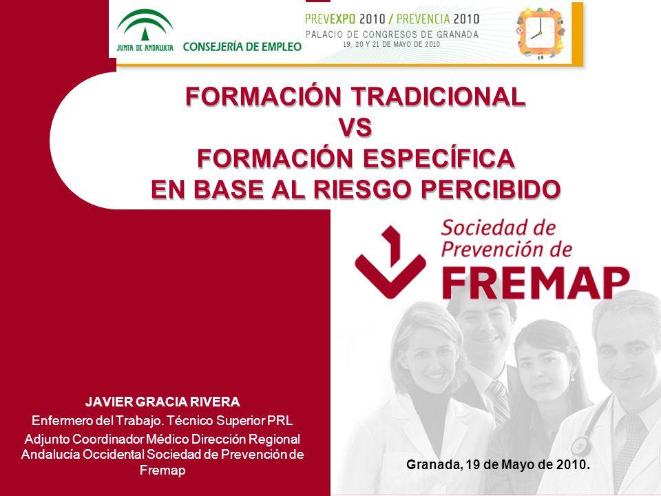 PERCEPCIÓN RIESGO QUÍMICO FORMACIÓN TRADICIONALFORMACIÓN ESPECÍFICA