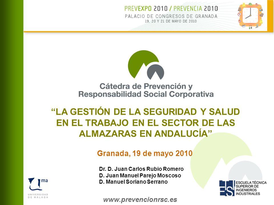 www.prevencionrsc.es Granada, 19 de mayo 2010 LA GESTIÓN DE LA SEGURIDAD Y SALUD EN EL TRABAJO EN EL SECTOR DE LAS ALMAZARAS EN ANDALUCÍA Dr.