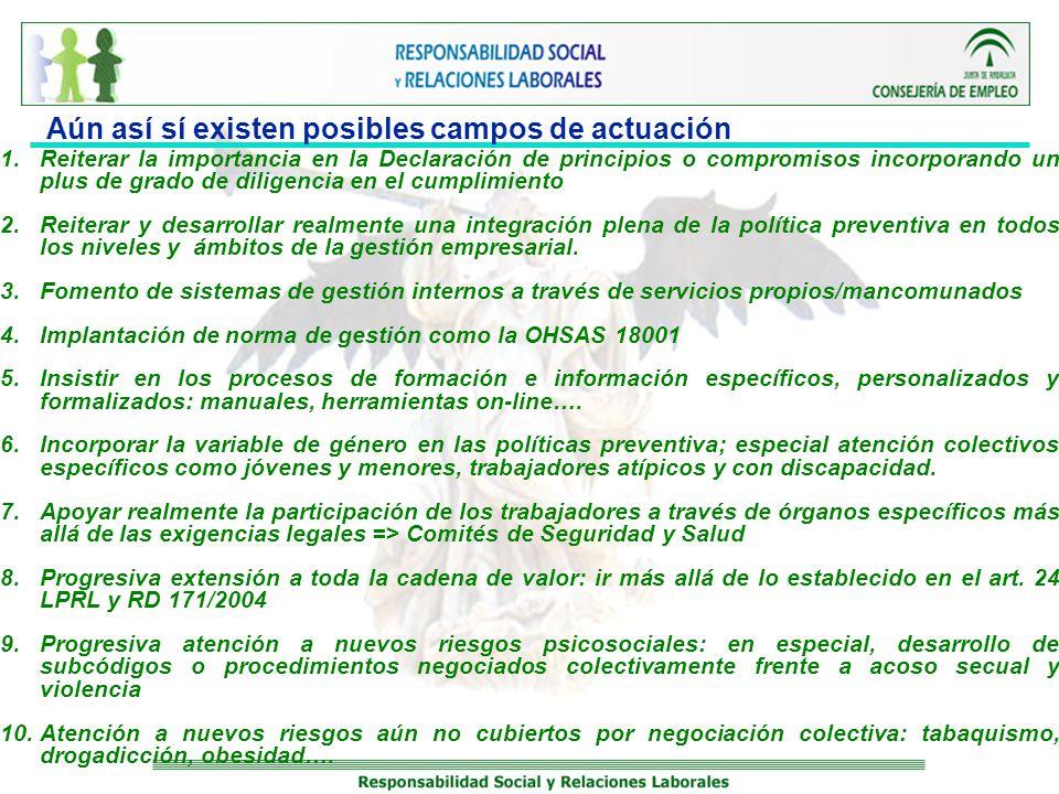 Aún así sí existen posibles campos de actuación 1.Reiterar la importancia en la Declaración de principios o compromisos incorporando un plus de grado