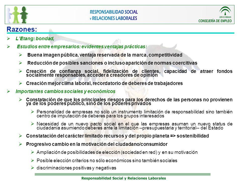 La Business Ethics y RSE: expansión Fortísima expansión CBE: Incorporación de valores éticos en la gestión diaria 1984 => el 80 % de las empresas; 1990 => el 93% de las empresas KAPETEIN (2004) mitad de las 200 mayores empresas mundiales tenían formalizada sus prácticas éticas a través de un código de conducta MELE (2002) Estudio realizado en el año 2000 en empresas españolas EL 71 % con documento ético Mayor proporción en empresas con cotización y multinacionales (prácticas de gestión norteamericanas) Menor en las empresas de menos de 900 trabajadores, pero incluso en este caso, el 60% de los que contestaron tenían esa formalización ética Informe Forética Andalucía 2008 Más del 40% empresas andaluzas contaban con políticas de RSE y el 70% consideraban que la RS incrementaría su importancia en el futuro.