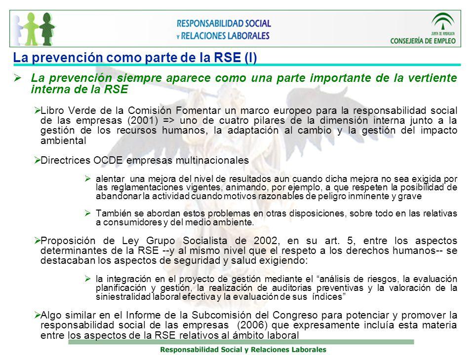 La prevención como parte de la RSE (I) La prevención siempre aparece como una parte importante de la vertiente interna de la RSE Libro Verde de la Com