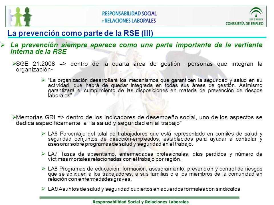 La prevención como parte de la RSE (III) La prevención siempre aparece como una parte importante de la vertiente interna de la RSE SGE 21:2008 => dent