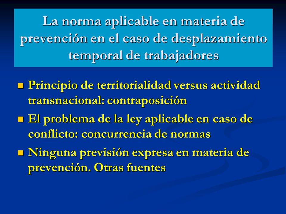 La norma aplicable en materia de prevención en el caso de desplazamiento temporal de trabajadores Principio de territorialidad versus actividad transn