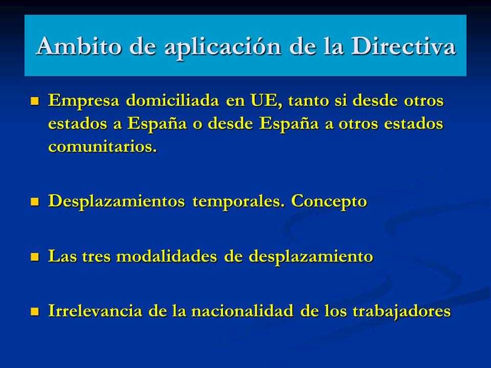Ambito de aplicación de la Directiva Empresa domiciliada en UE, tanto si desde otros estados a España o desde España a otros estados comunitarios. Emp