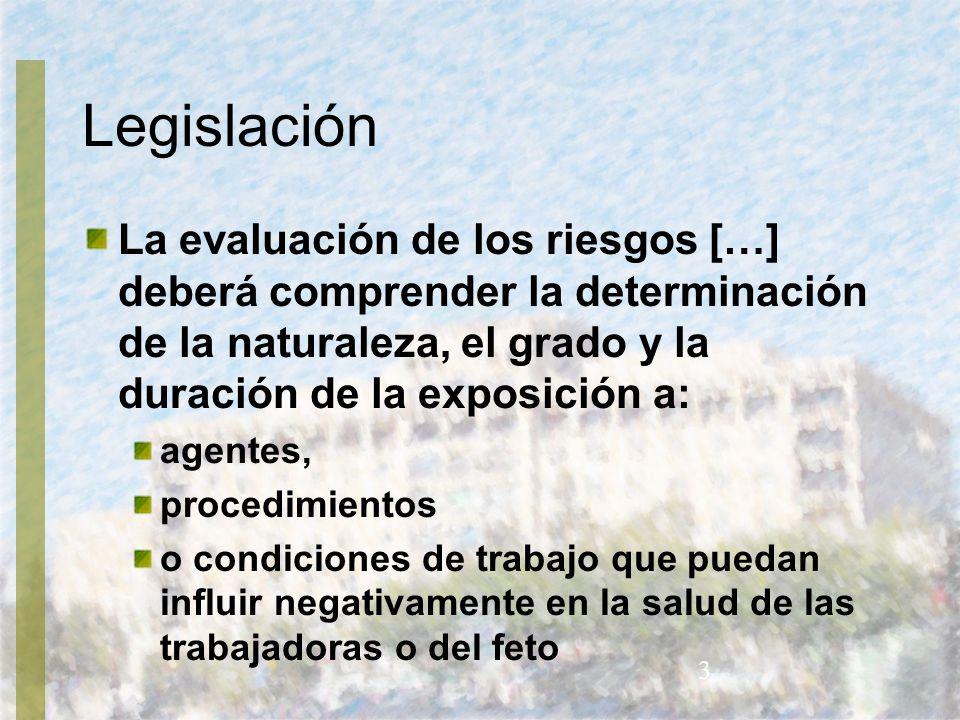 Legislación La evaluación de los riesgos […] deberá comprender la determinación de la naturaleza, el grado y la duración de la exposición a: agentes,