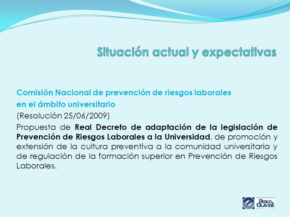 Comisión Nacional de prevención de riesgos laborales en el ámbito universitario (Resolución 25/06/2009) Propuesta de Real Decreto de adaptación de la