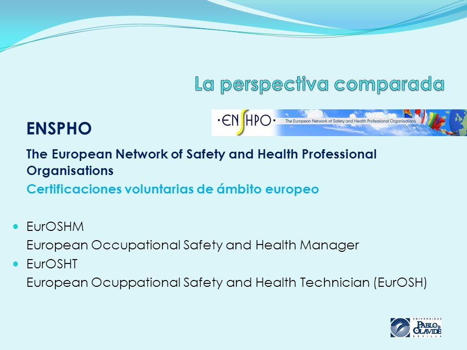 ENSPHO The European Network of Safety and Health Professional Organisations Certificaciones voluntarias de ámbito europeo EurOSHM European Occupational Safety and Health Manager EurOSHT European Ocuppational Safety and Health Technician (EurOSH)
