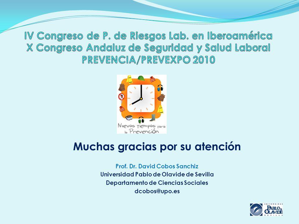 Muchas gracias por su atención Prof. Dr. David Cobos Sanchiz Universidad Pablo de Olavide de Sevilla Departamento de Ciencias Sociales dcobos@upo.es