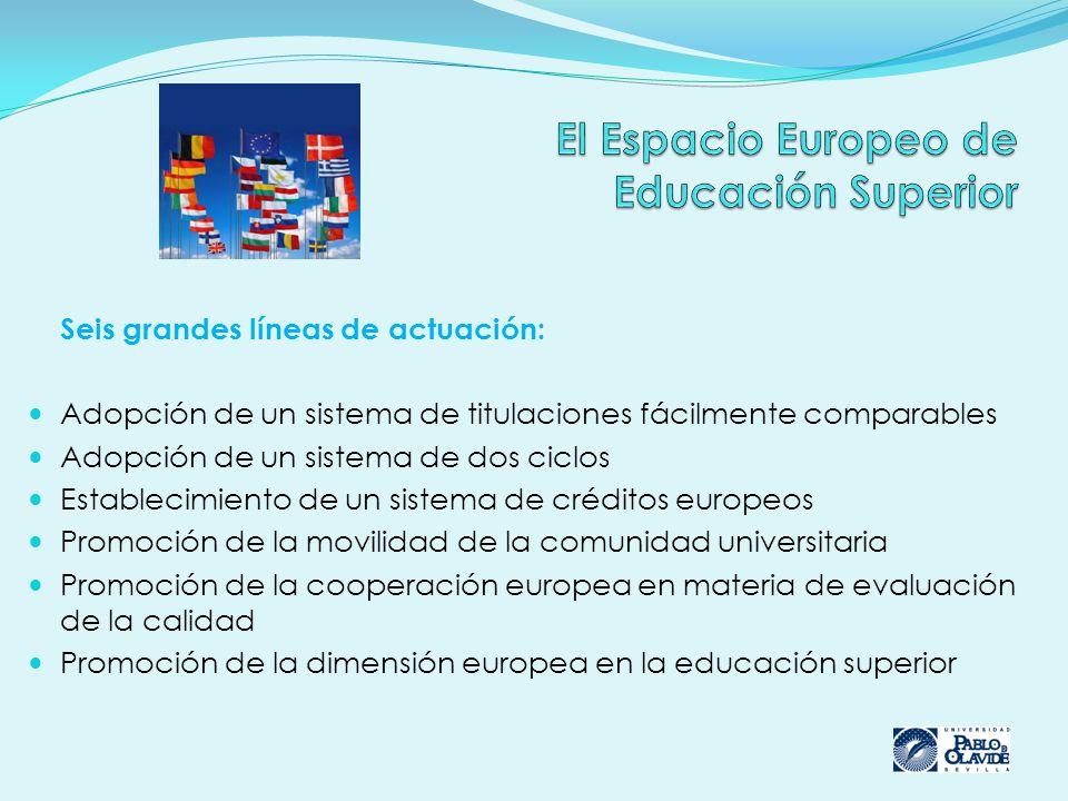 Seis grandes líneas de actuación: Adopción de un sistema de titulaciones fácilmente comparables Adopción de un sistema de dos ciclos Establecimiento de un sistema de créditos europeos Promoción de la movilidad de la comunidad universitaria Promoción de la cooperación europea en materia de evaluación de la calidad Promoción de la dimensión europea en la educación superior
