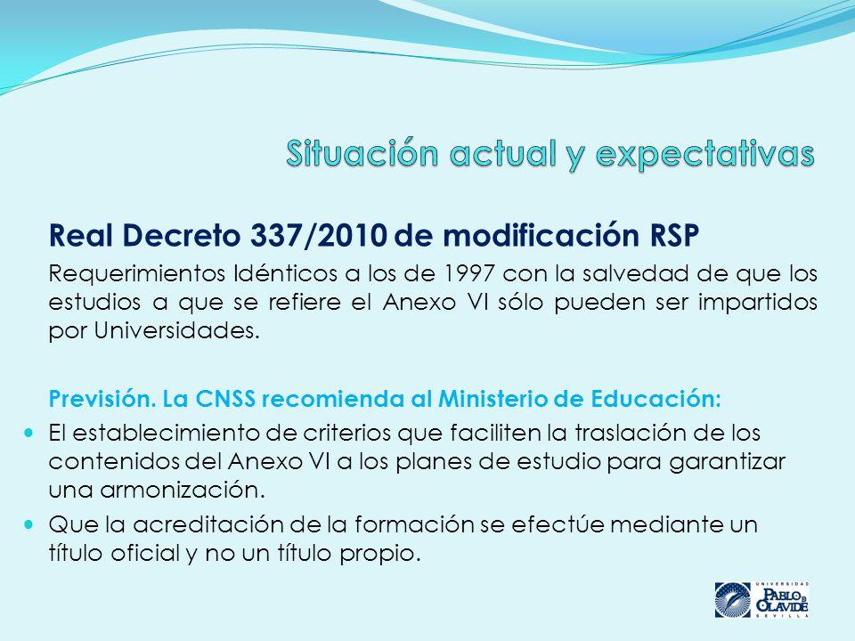 Real Decreto 337/2010 de modificación RSP Requerimientos Idénticos a los de 1997 con la salvedad de que los estudios a que se refiere el Anexo VI sólo pueden ser impartidos por Universidades.