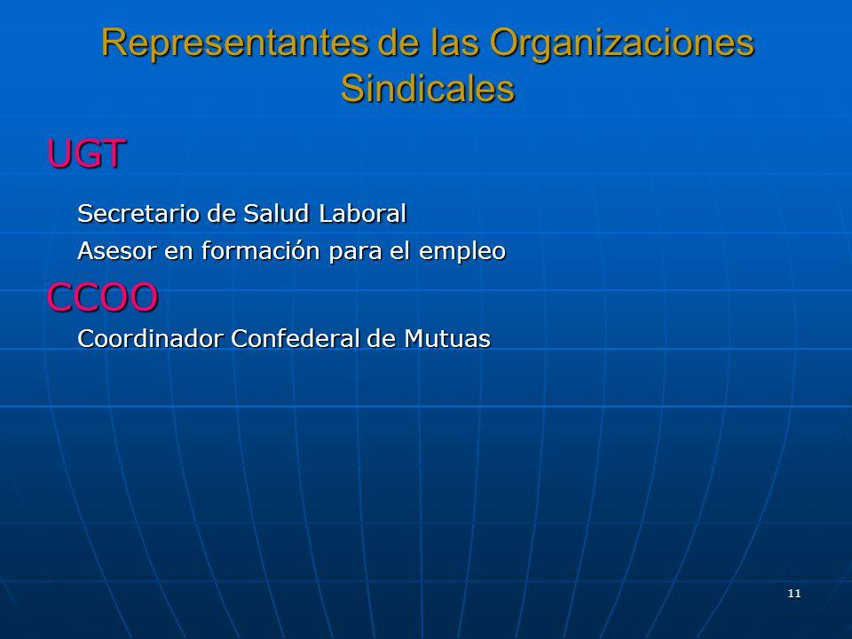 11 Representantes de las Organizaciones Sindicales UGT Secretario de Salud Laboral Asesor en formación para el empleo CCOO Coordinador Confederal de Mutuas