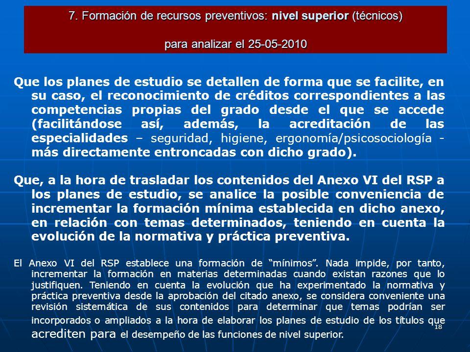 18 7. Formación de recursos preventivos: nivel superior (técnicos) para analizar el 25-05-2010 Que los planes de estudio se detallen de forma que se f