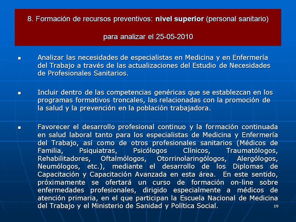 19 Analizar las necesidades de especialistas en Medicina y en Enfermería del Trabajo a través de las actualizaciones del Estudio de Necesidades de Profesionales Sanitarios.