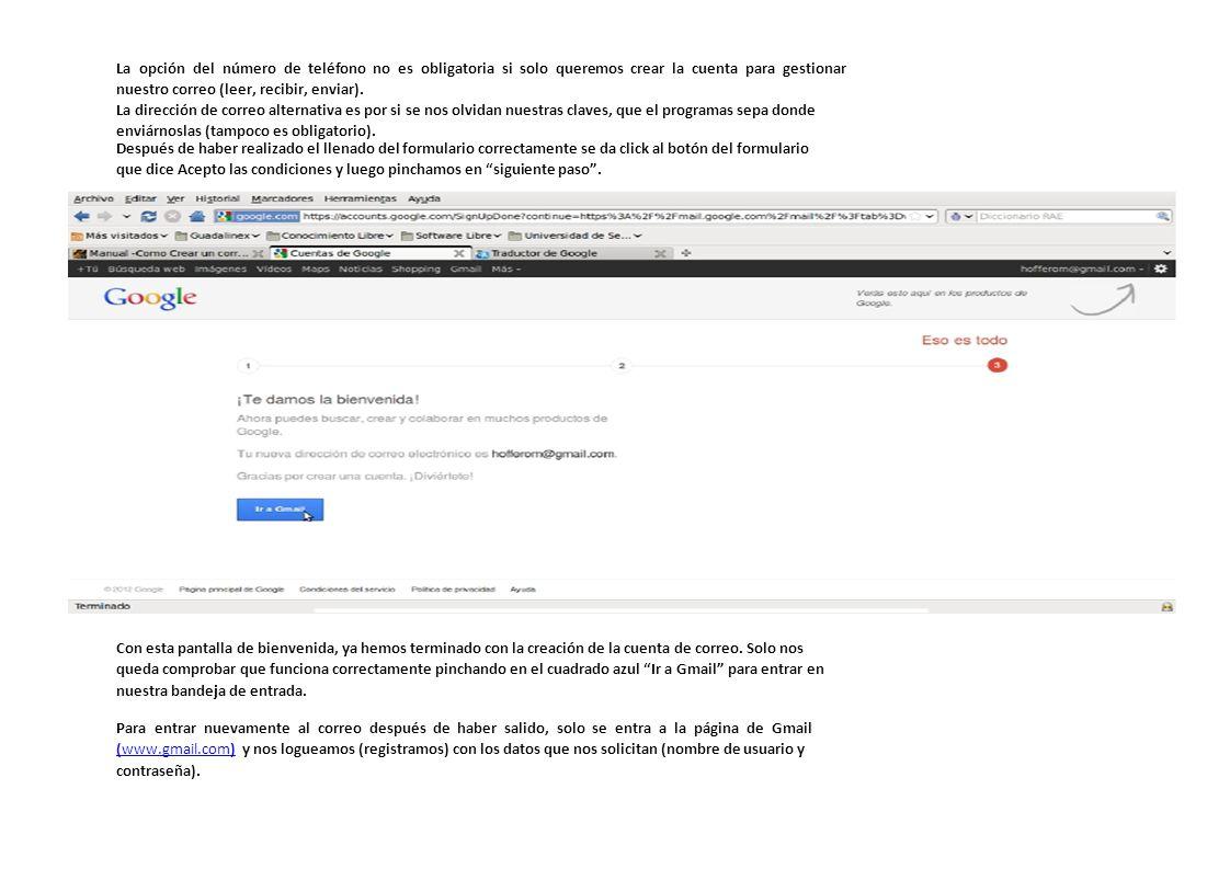 Y esta es la imagen de la Bandeja de Entrado de nuestro correo electrónico de Gmail.