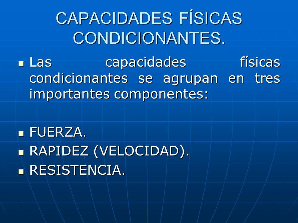 CAPACIDADES FÍSICAS CONDICIONANTES. Las capacidades físicas condicionantes se agrupan en tres importantes componentes: Las capacidades físicas condici