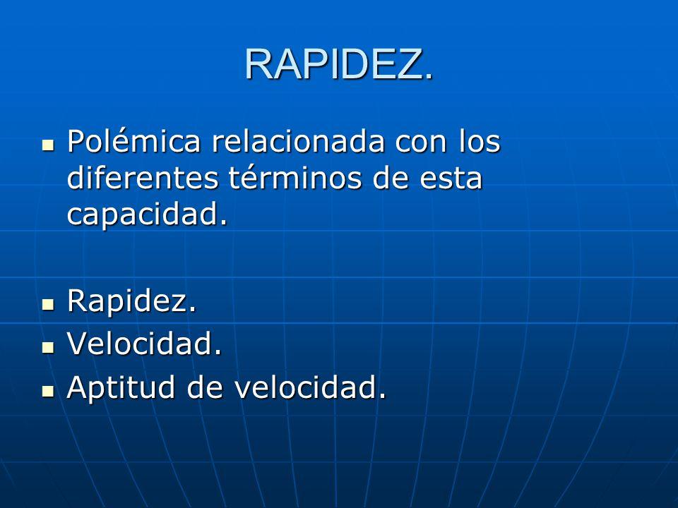 RAPIDEZ. Polémica relacionada con los diferentes términos de esta capacidad. Polémica relacionada con los diferentes términos de esta capacidad. Rapid