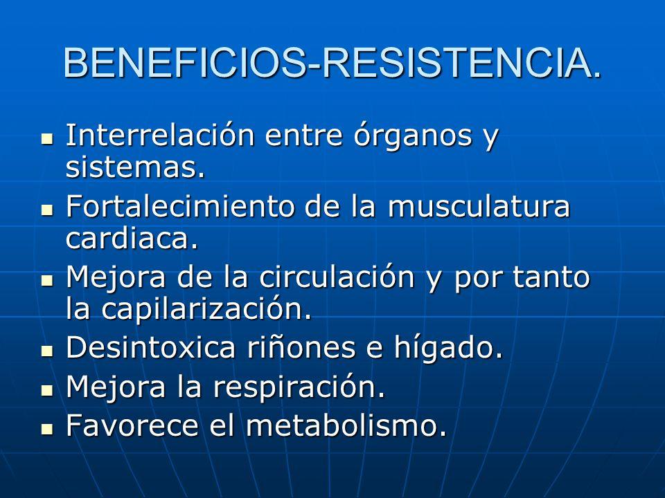 BENEFICIOS-RESISTENCIA. Interrelación entre órganos y sistemas. Interrelación entre órganos y sistemas. Fortalecimiento de la musculatura cardiaca. Fo