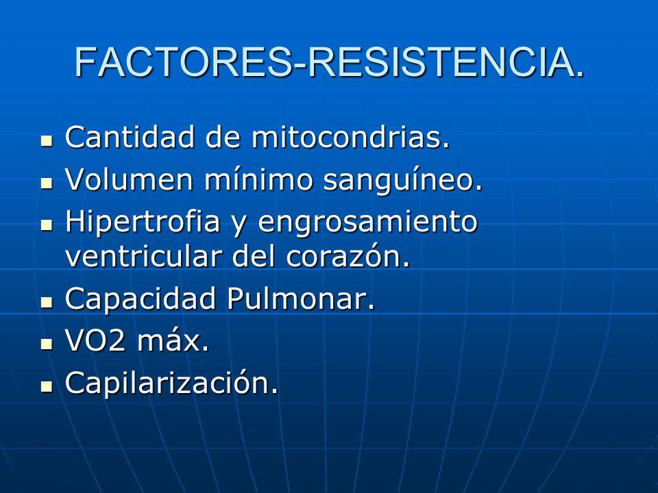 FACTORES-RESISTENCIA. Cantidad de mitocondrias. Cantidad de mitocondrias. Volumen mínimo sanguíneo. Volumen mínimo sanguíneo. Hipertrofia y engrosamie