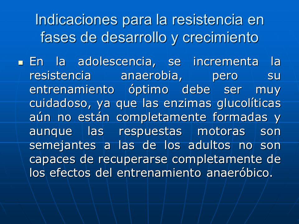 Indicaciones para la resistencia en fases de desarrollo y crecimiento En la adolescencia, se incrementa la resistencia anaerobia, pero su entrenamient
