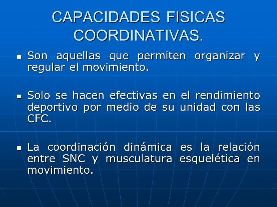 CAPACIDADES FISICAS COORDINATIVAS. Son aquellas que permiten organizar y regular el movimiento. Son aquellas que permiten organizar y regular el movim