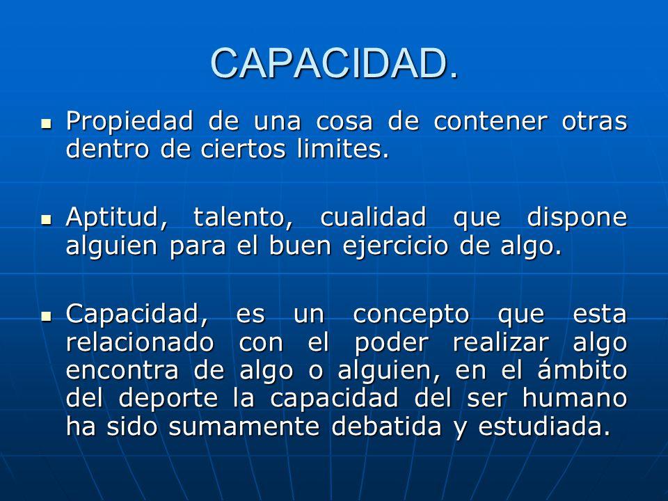 CAPACIDAD. Propiedad de una cosa de contener otras dentro de ciertos limites. Propiedad de una cosa de contener otras dentro de ciertos limites. Aptit